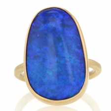 All Gold Australian Black Opal Ring Image