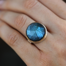 Round Rose Cut Labradorite Silver and Gold Ring