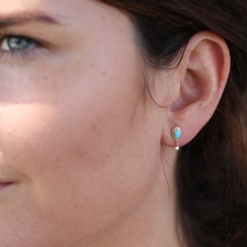 Turquoise Post Stud Earrings with Diamond Dangles Image