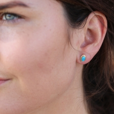 Australian Opal Gold Post Stud Earrings