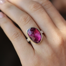 Vertical Pink Tourmaline Asymmetrical Ring Image