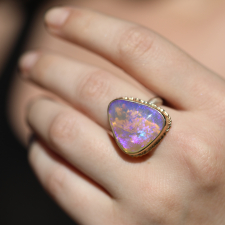 Australian Opal Ruffled Bezel Open Back Ring Image
