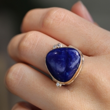 Lapis Ring with Three Diamonds Image