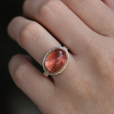 Smooth Oval Salmon Color Tourmaline Ring Image