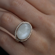 Oval White Moonstone Silver and 14k Rose Gold Ring Image
