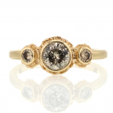 Round Brilliant Cut Diamond and Champagne Diamond Ring Image