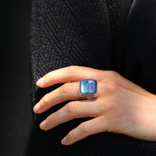 Square Blue Rainbow Moonstone Ring Image