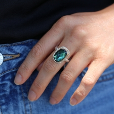 Asymmetrical Rose Cut Indicolite Tourmaline Ring