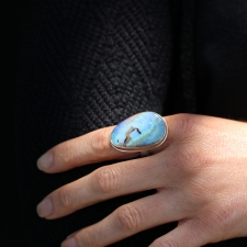 Large Boulder Opal Silver and Gold Vertical Ring Image