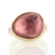Pink Tourmaline Asymmetrical Silver and Gold Faceted Ring Image