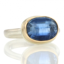 Kyanite Oval Silver and Gold Ring