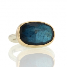 Rose Cut Labradorite Silver and Gold Ring Image