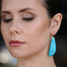 Asymmetrical Mexican Turquoise Earrings Image