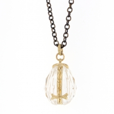 Rock Crystal Twin Teardrop Locket Necklace Image