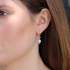 Grey Tahitian Pearl Diamond Leaf Earrings Image
