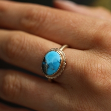 Perisan Turquoise and Pyrite Ring Image
