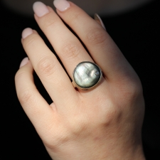 Asymmetrical Black Mother of Pearl and Diamond Ring Image