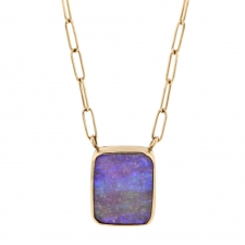 Small Rectangular Boulder Opal Pendant Necklace Image
