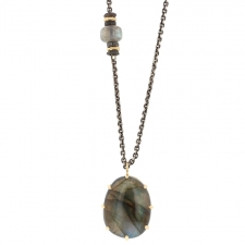 Long Labradorite Silver and Gold Necklace Image