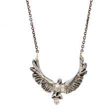 Upward Eagle and Diamond Necklace