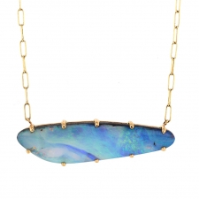 Gold Boulder Opal Prong Necklace Image