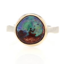Small Round Mexican Fire Opal Ring Image