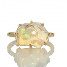 Unique Mexican Fire Opal All Gold Prong Ring Image