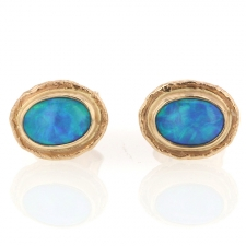 Australian Opal Gold Post Stud Earrings Image