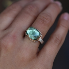 Rectangular Green Tourmaline Ring