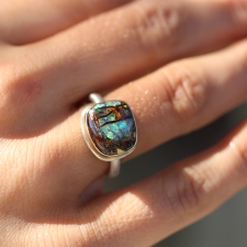 Rectangular Boulder Opal Ring Image