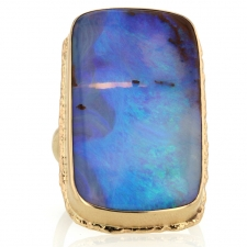 Large Vertical Open Backed All 14k Gold Boulder Opal Ring Image