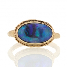 All Gold Black Australian Opal Ring