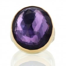 Vertical Oval Rose Cut Amethyst Ring Image