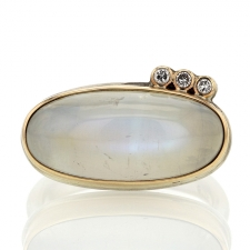 Oval White Rainbow Moonstone with Three Satellite Diamonds Image