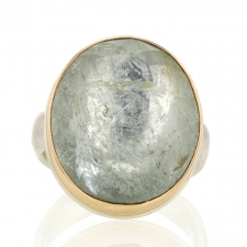 Inverted Faceted Silver and Gold Aquamarine Ring Image