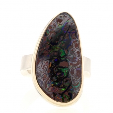 Unique Koroit Opal Silver and Gold Vertical Ring