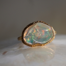 All Gold Mexican Fire Opal Ruffled Ring Image