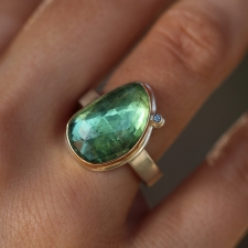 Vertical Green Tourmaline Faceted Silver and Gold Ring Image