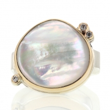 White Mother of Pearl and Diamond Ring Image