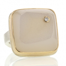 Square White Drusy Agate and Diamond Ring Image
