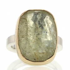 Vertical Faceted Rectangular Yellow Beryl Ring Image