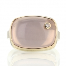 Rectangular Rose Quartz and Diamond Ring Image