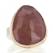 Asymmetrical Faceted Pink Sapphire Ring Image