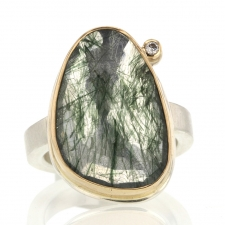 Vertical Green Rutilated Quartz and Diamond Ring Image