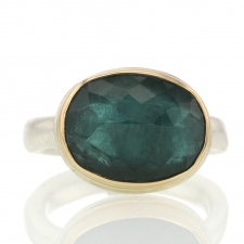 Inverted Faceted Oval Green Tourmaline Ring Image