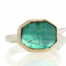 Emerald Slice Silver and Gold Ring Image