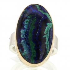 Vertical Smooth Chrysocolla Malachite Azurite Ring Image