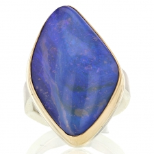 Asymmetrical Vertical Silver and Gold Boulder Opal Ring Image