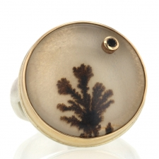 Dendritic Agate and Black Diamond Ring Image