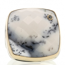 Dendritic Opal and Black Diamond Ring Image